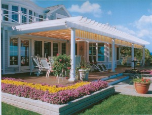 Shade Tree Pergola Yellow Stripe