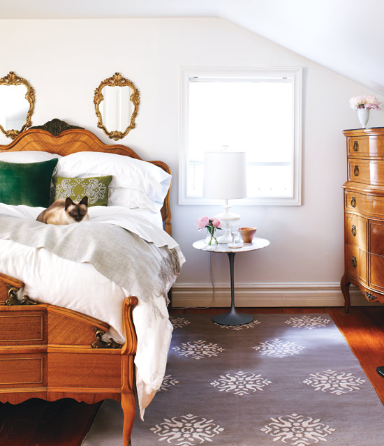 Romantic retreat Curvy lines and antique finishes are the perfect touches for a romantic sleeping space.