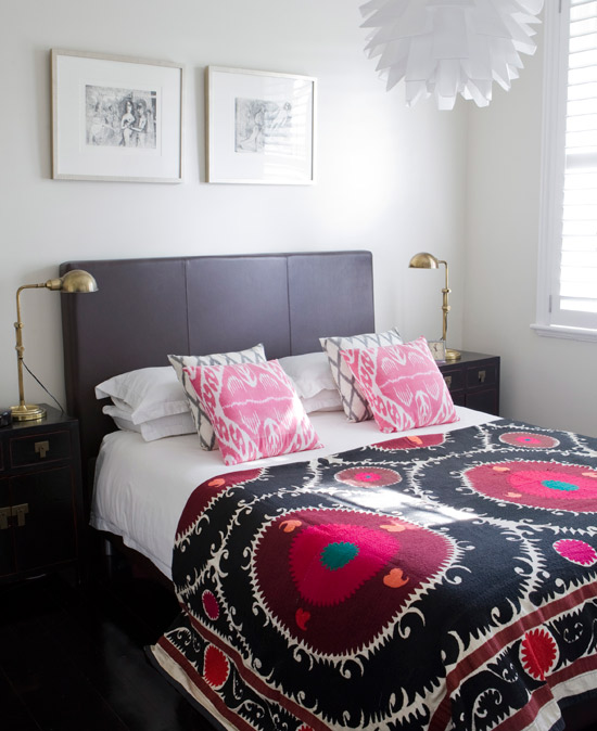 Tribal patterns A simple bedroom is brought to life with tribal-patterned bedding. Opt for classic white bedding and introduce accessories like colourful cushions and throws that can be switched up when tastes change.