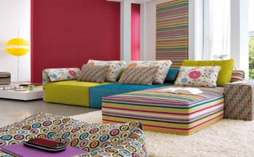 A colourful living-room.