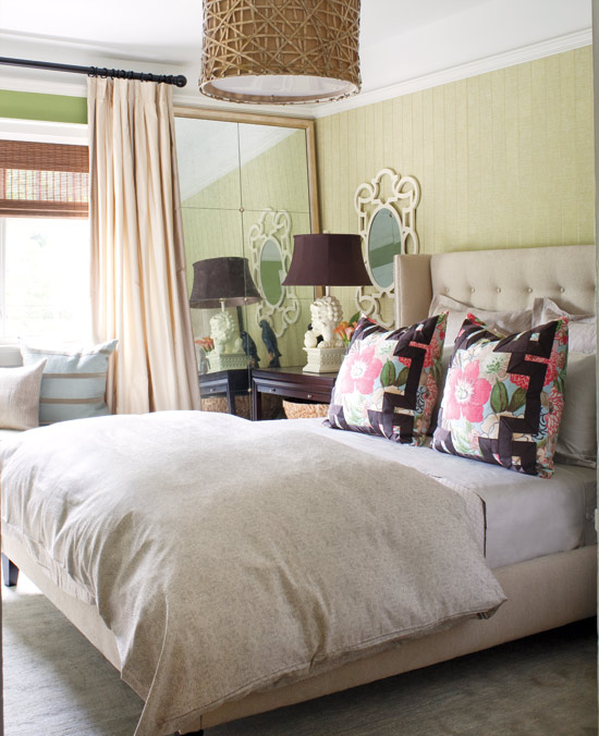 Splash of green This colourful bedroom reminds us of a luxe holiday escape in the tropics -- who wouldn't want to wake up to that every morning?