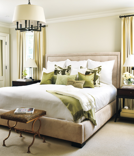Contemporary classic A neutral palette and traditional design are what make this bedroom a cosy classic, but the addition of a sassy animal-print bench gives the room an edge.