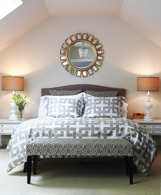 Style for less Peter Fallico took this space from dumpy attic to beautful bedroom space and cut down on decorating costs along the way. He chose bedding from HomeSense and covered the bench in $40 fabric to match the pillow shams.