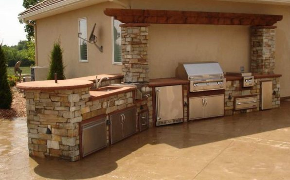 classic outdoor kitchen stone cabinet kitchen small