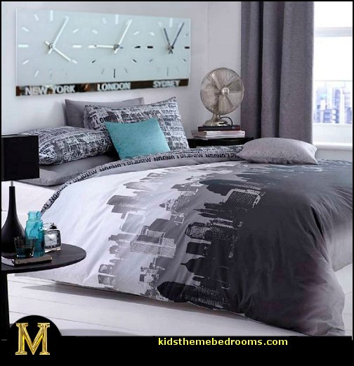 Catherine lansfield city scape travel themed bedroom for City themed bedroom ideas