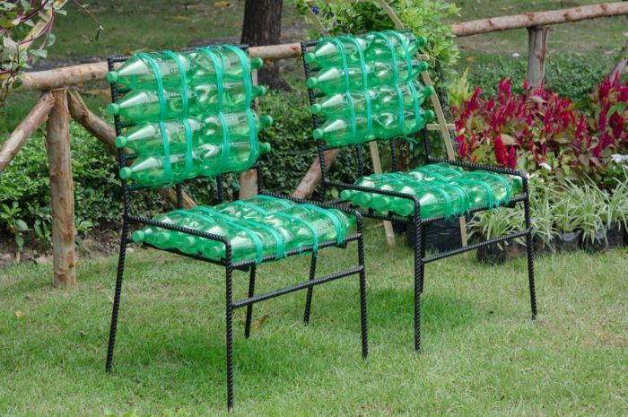 Plastic bottle garden chairs