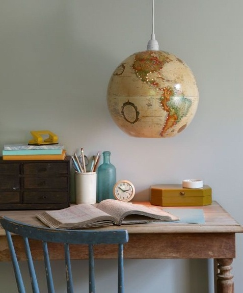 Upcycled World Globe – Easy DIY Pendant Light