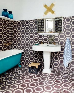 Moroccan tiled bathroom