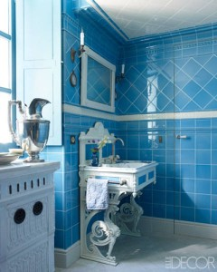 An all-over-tile bathroom