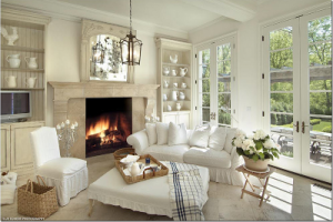 white slipcovered room 2 via cote de texas