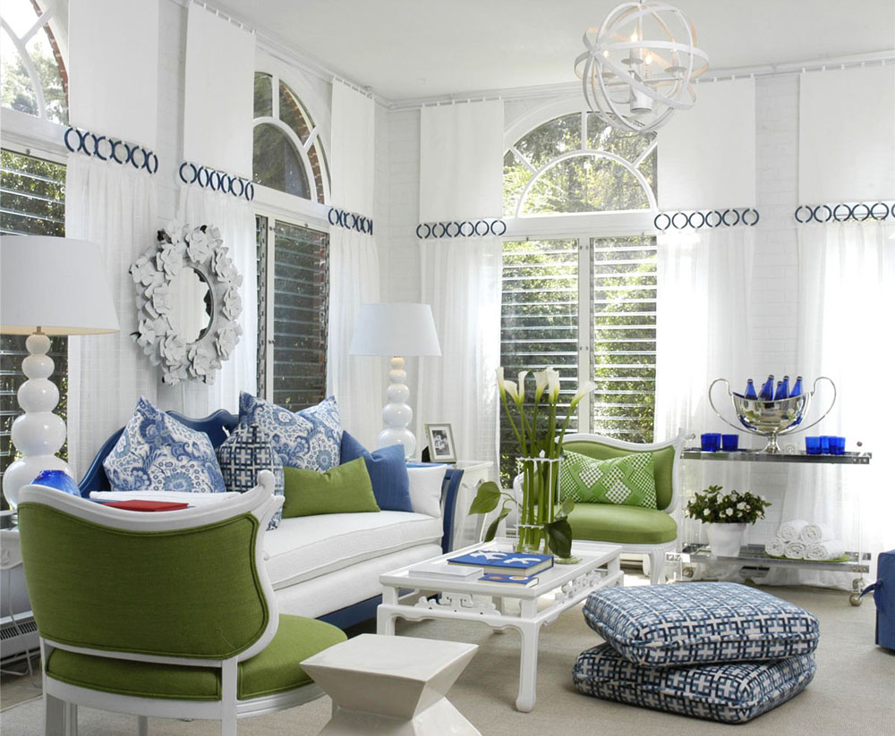 Decorating with blue and white Modern white living room decor