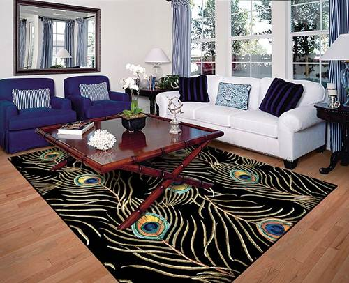 Beautiful peacock area rug blue and white sofa living room for Living area decor ideas