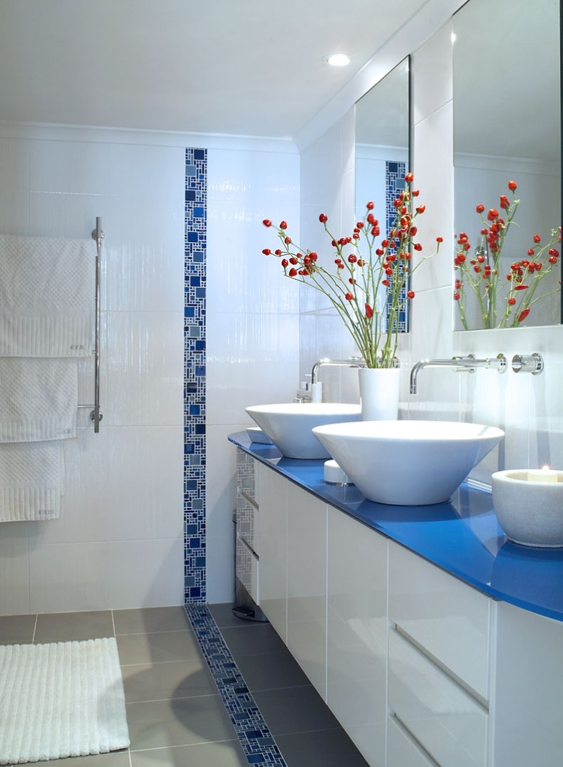 Marvelous Bathroom Fascinating Blue Bathroom Decoration With Blue Tile Border Bathroom  Wall Design Including Round White Bathroom Sink Bowl And Blue V