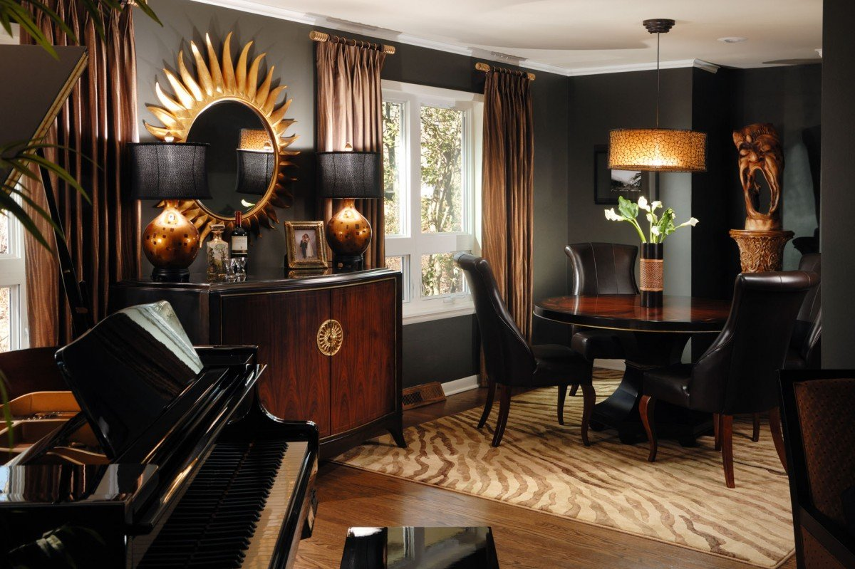 Living room decorating with black for Black decorated rooms
