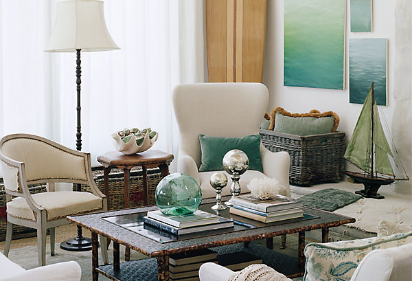 Beach inspired decorating ideas for Beach themed living room colors