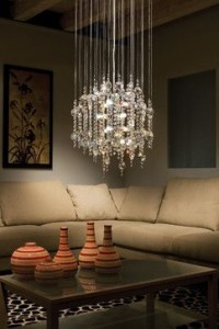 A beautiful cascading chandelier makes a bold and elegant statement
