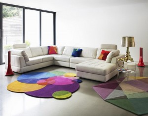 A colorful rug bolsters the space