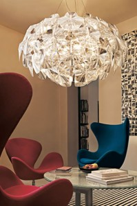 A glittering contemporary chandelier