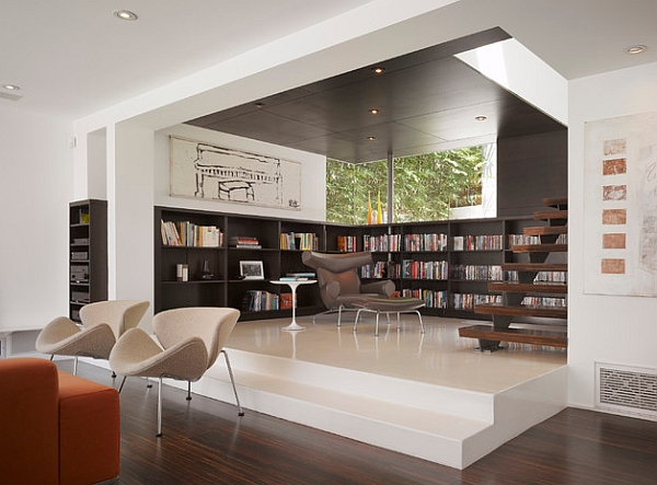 Photo Courtesy Of Houzz An Open Space Dining Area Serves As Library