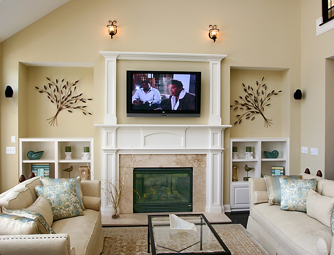 Add character to your home with architectural details - Living room with fireplace ...