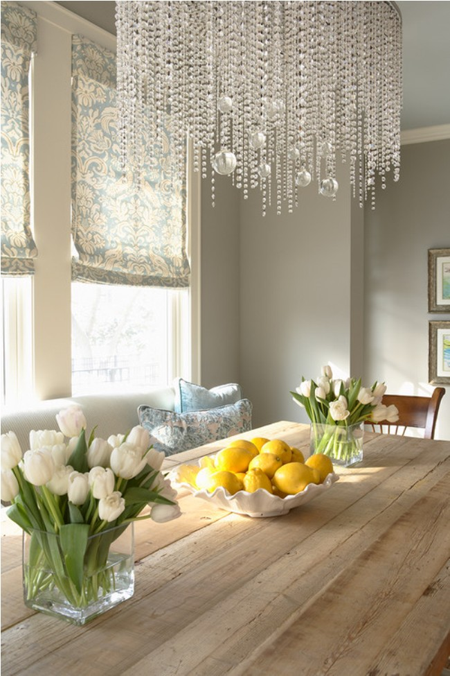 Elegant living dining space with chandelier neutral wall for Living dining room small space