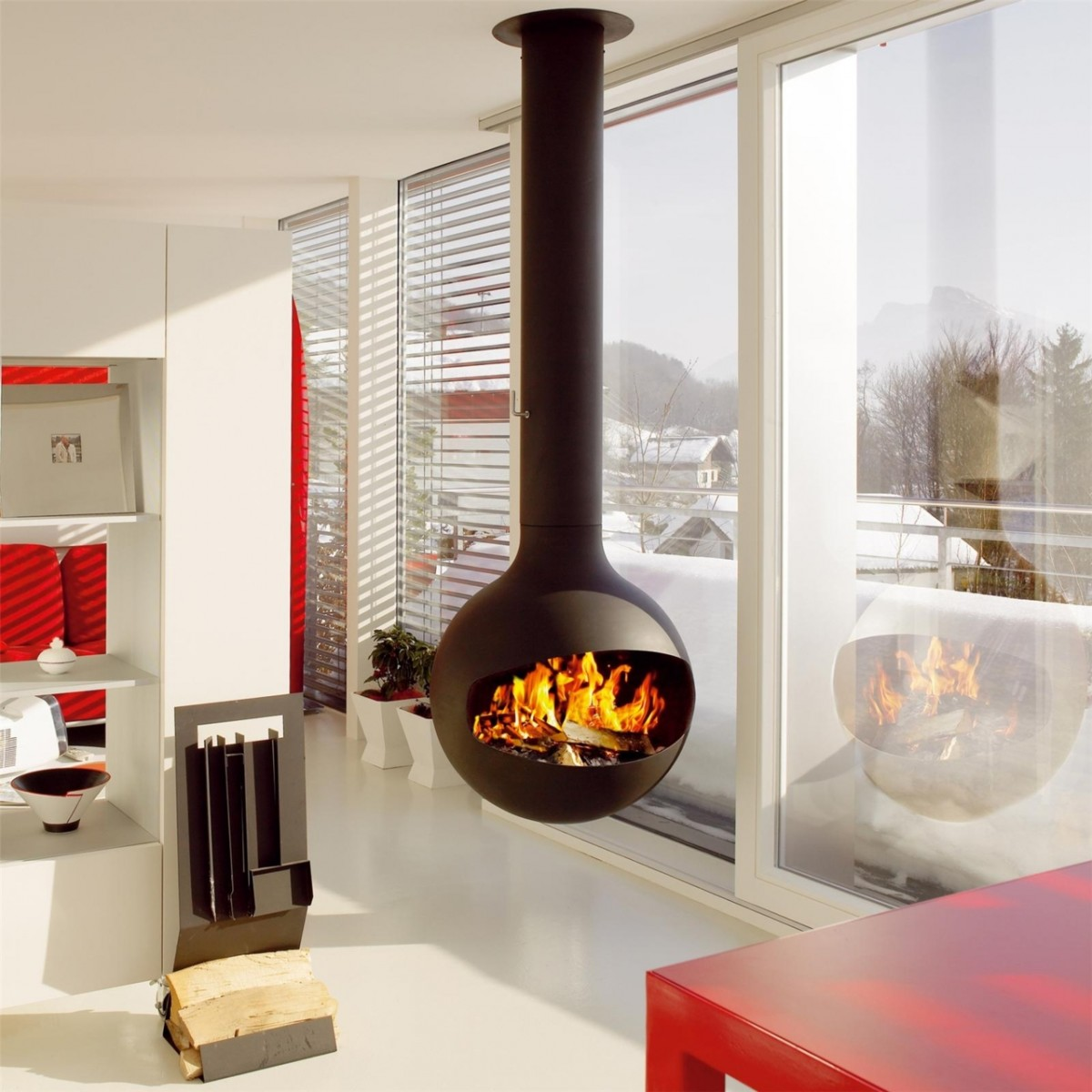 Turn up the heat with modern fireplace updates - Living room with fireplace ...