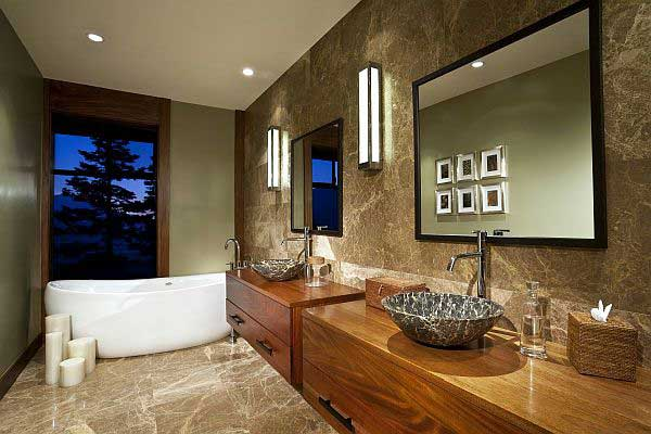 Luxury-Granite-Bathroom-Design-With-Wooden-Vanities - Livinator