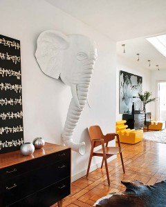 A bold elephant sculpture makes a fun focal point