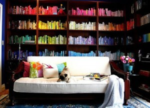 Colorful book covers makes this room pop
