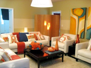 Color orange accents enliven this space