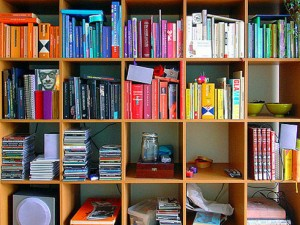 Colorful book covers enhance a space