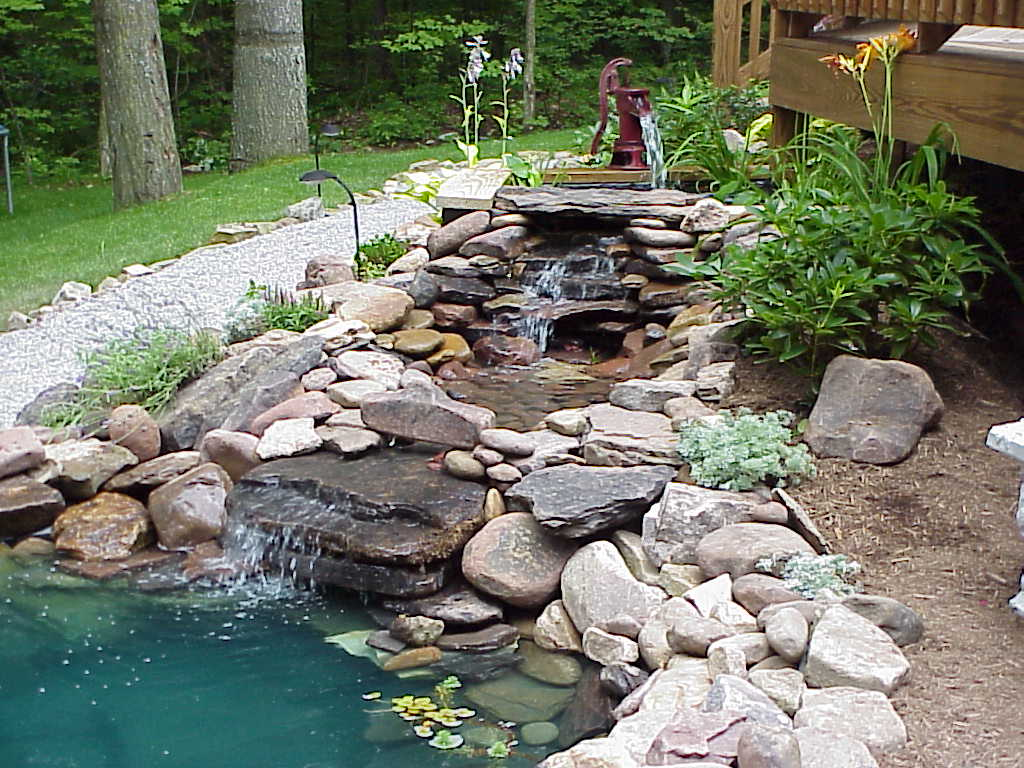 Relax with a backyard water feature for Pond features