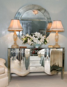 A mirrored buffet adds luxury and style