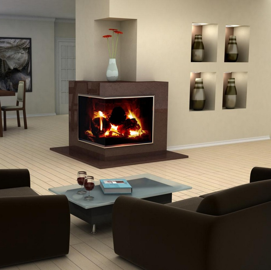 Modern design idea for two sided corner fireplace living - Modern fireplace living room design ...