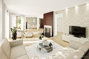 A deep wood surround complements the white of this living area