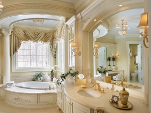 An elegant bathroom gleams in cream