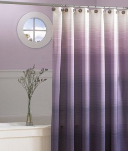 An ombre shower curtain in pleasing shades of lilac
