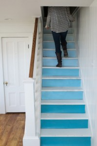 Ombre paint technique on stairs by Nicki Bongiorno