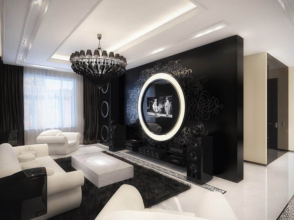 High contrast high style decorating in black white - Black accessories for living room ...