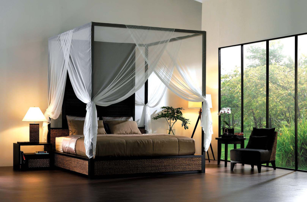 Modern Bedroom Set Contains Of Open Canopy Bed With Cozy Bed In Brown Bed Cover Bedside Tables