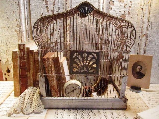 decorating with vintage bird cages. Black Bedroom Furniture Sets. Home Design Ideas