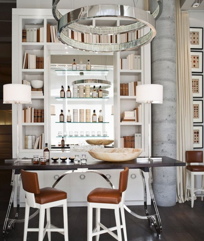 Bookshelf Home Bars With White Shelf And Stunning