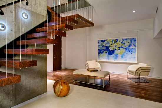 A beautiful wood staircase