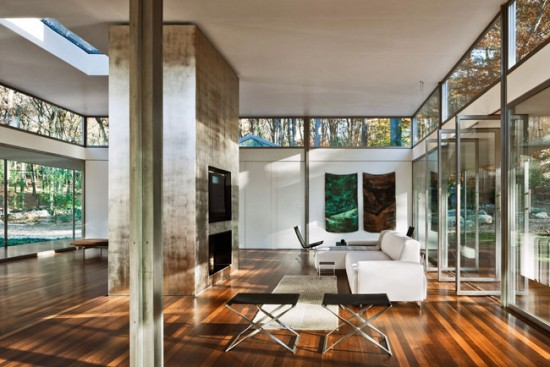 Beautiful light-filled glass house interior