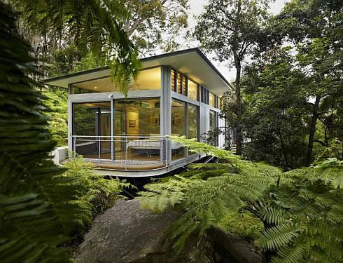 A glass house nestled in the woods