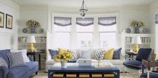 Accents of yellow add dimension to this blue and white interior