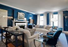 Blue gloss paint highlights this living area