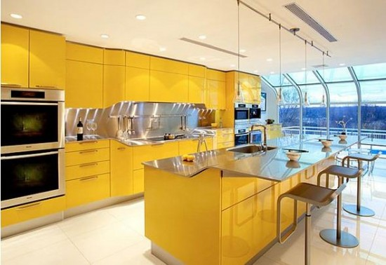 Sunny yellow high gloss cabinetry
