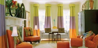 Window treatments enhance this room
