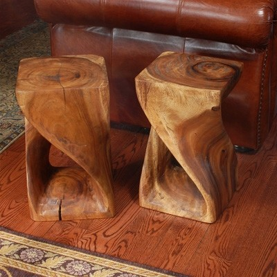 Wood stools add character to a room